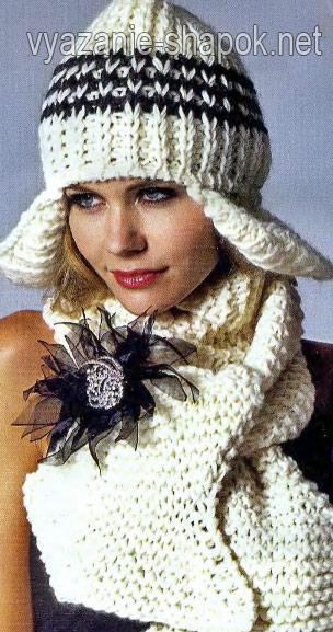 женская шапка-шлем с ушками