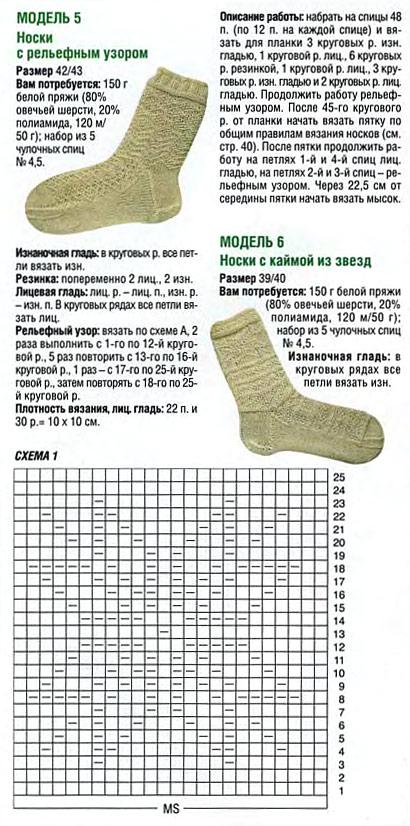 Схемы для вязания мужских носков спицами 626