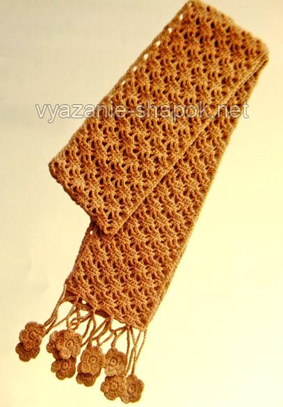 вязаный шарф крючком узор