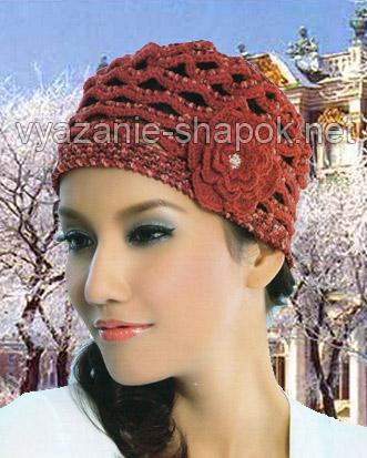шапка с вязаным цветком
