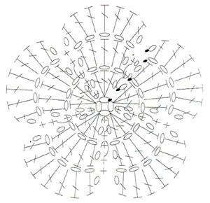 цветок крючком схема