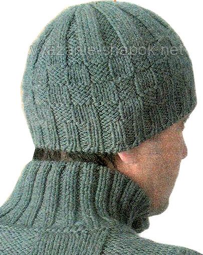Зимняя мужская шапка шахматка