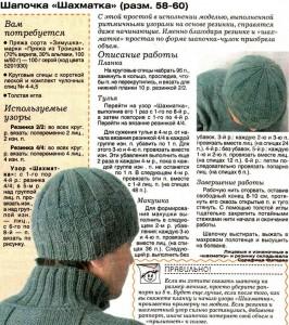 Описание вязания мужской шапки спицами