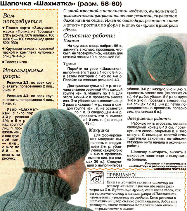 Вязание спицами зимних шапок для мужчин