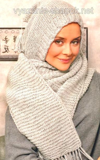 Зимний шарф капюшон