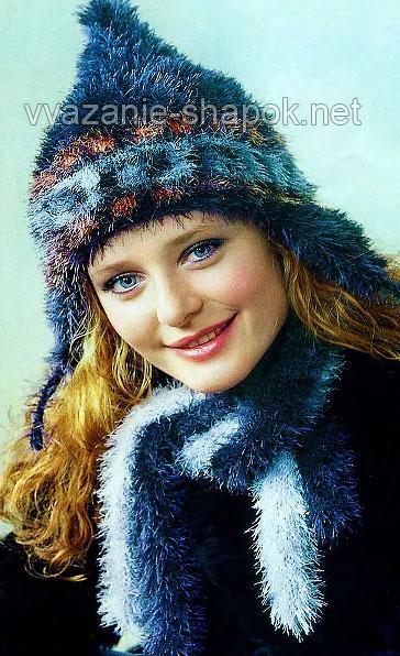 Теплая зимняя шапка из травки спицами