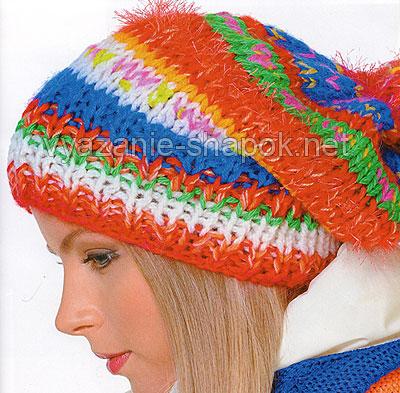 Яркая шапка мешок спицами