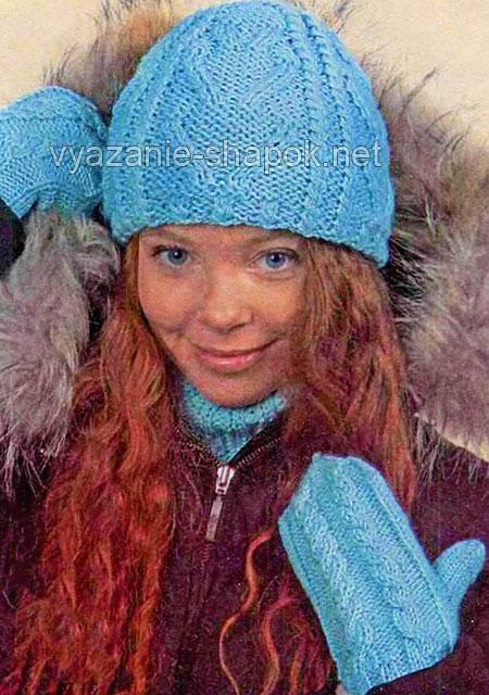Шапочка и варежки для зимы