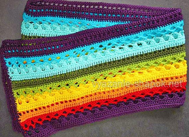 Разноцветный шарфик крючком