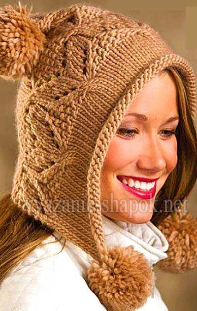 вязание шапок спицами для женщин с описанием 2014 зима