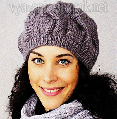 вязание шапок беретов шарфов снудов как связать шапку с косами