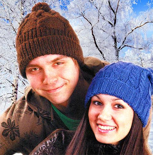 Вязаная мужская молодёжная шапка спицами схема - retroobraz.ru