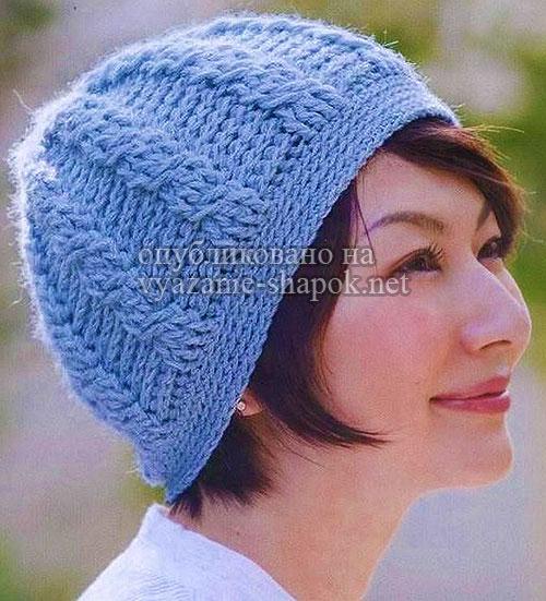 Стильная голубая шапка крючком