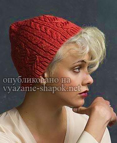 Модная шапка спицами