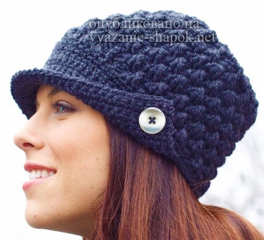 Вяжем женскую шапку крючком с козырьком