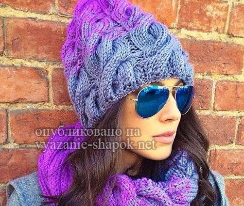 шапка с косами градиентом вязание спицами обсуждение на