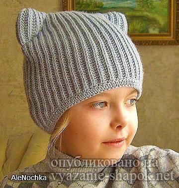 Детская шапка с ушками кошки