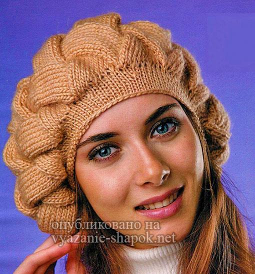 Вязание спицами - объемный берет Плетенка