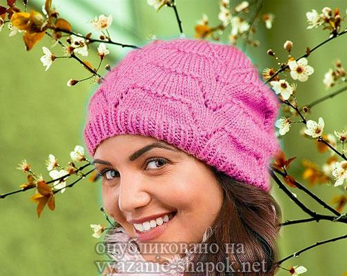 Женская шапка спицами - Малиновая Рябь