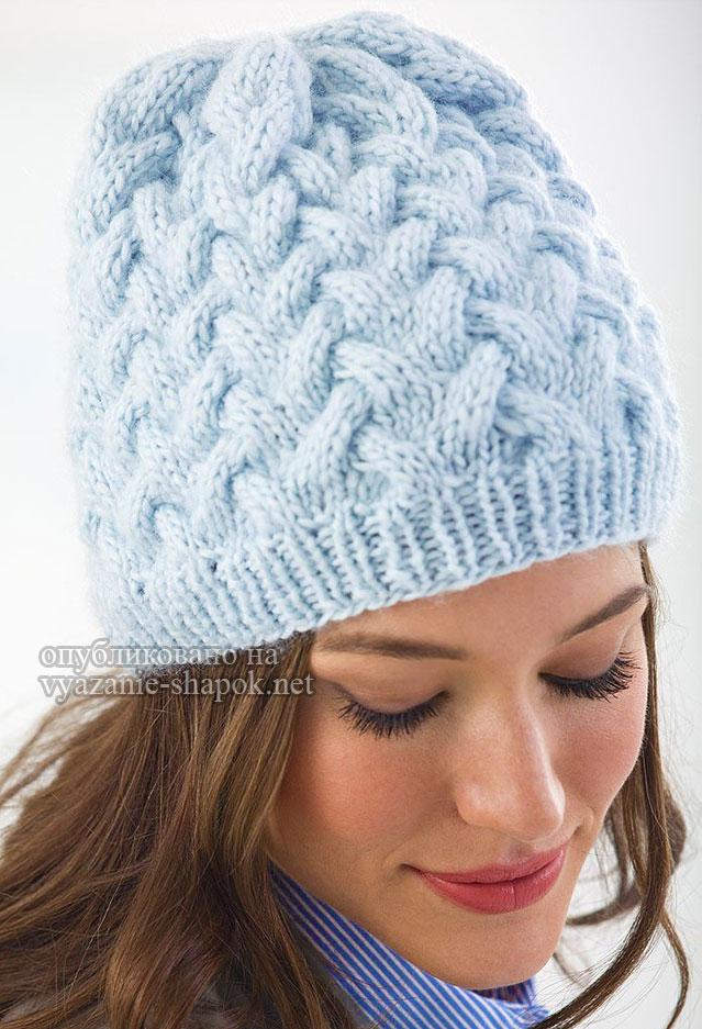 Вязание шапки с узором из кос 439